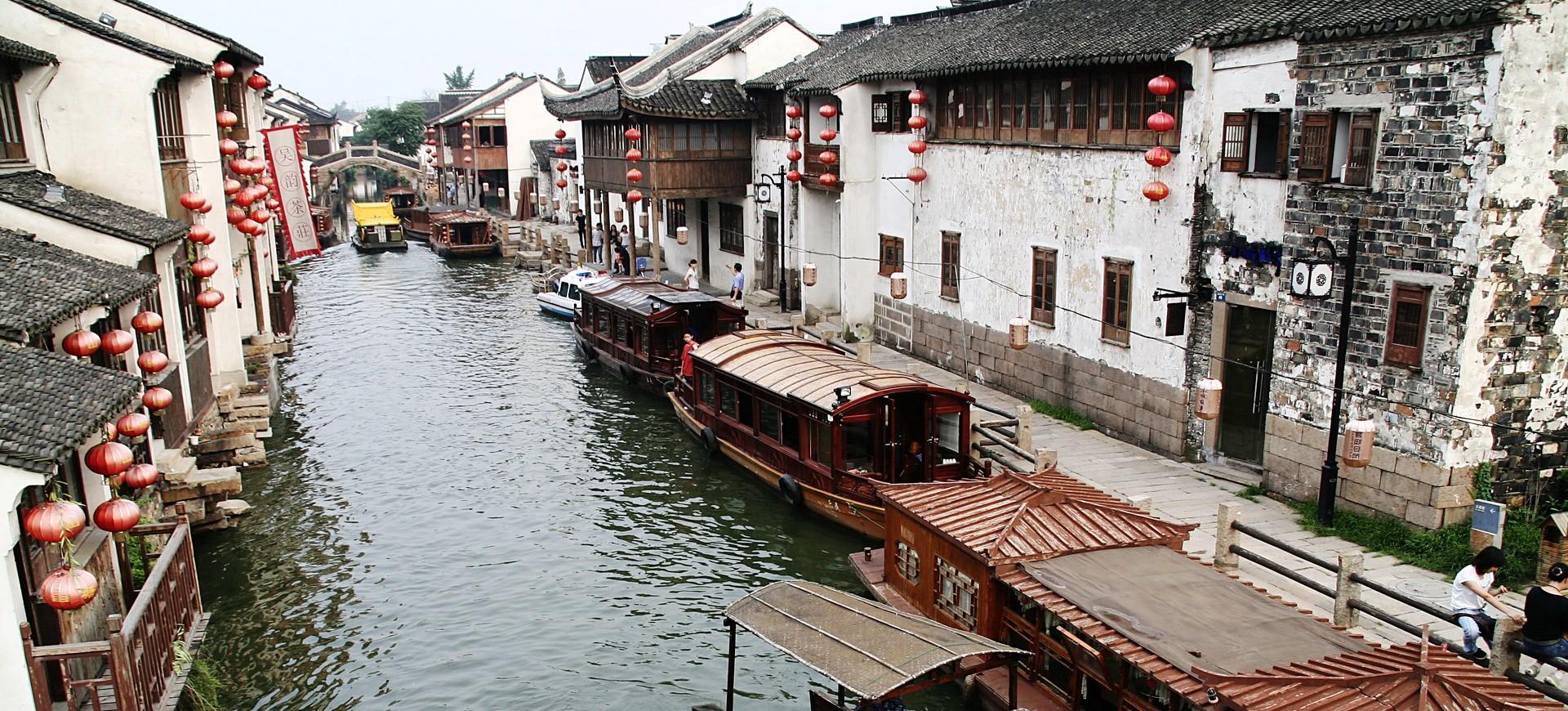 Canal et Maisons à Suzhou en Chine